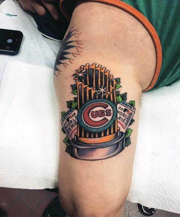 Mens Outer Arm Tricep Chicago Cubs Tattoos