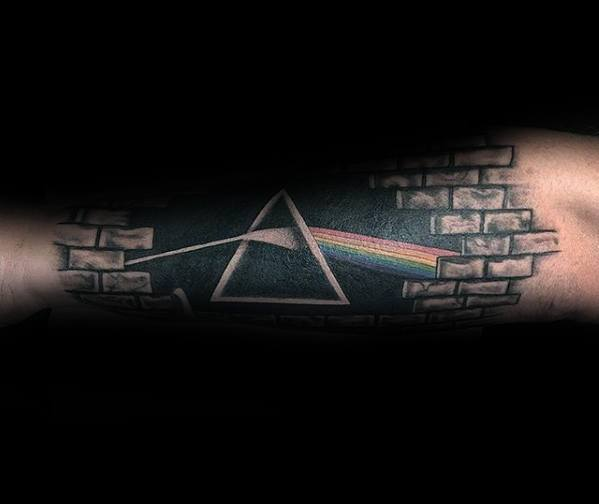 Mens Outer Forearm 3d Tattoo With Dark Side Of The Moon Design