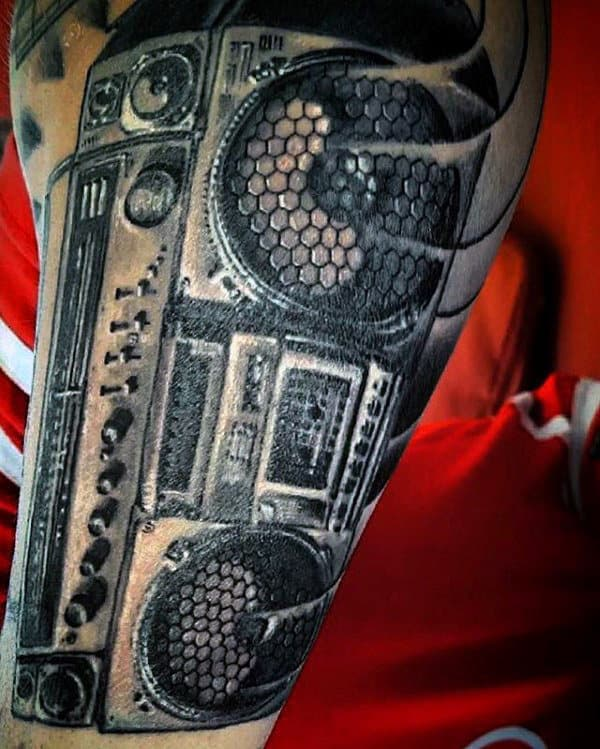 Mens Outer Forearm Boombox Detailed Tattoo Designs