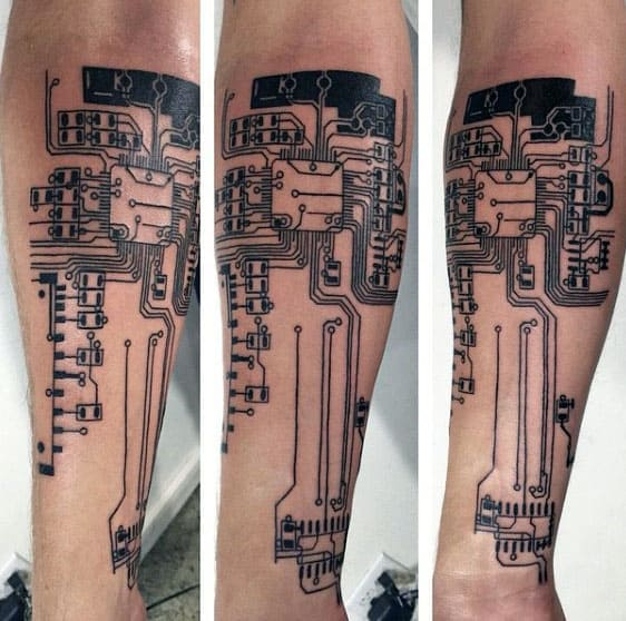 Mens Outer Forearm Circuit Board Tattoo
