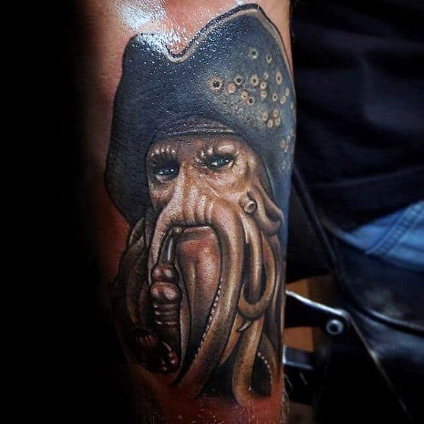 Mens Outer Forearm Davy Jones Tattoo Design Inspiration