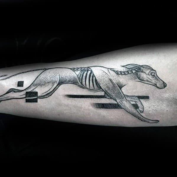 Mens Outer Forearm Greyhound Tattoo Design Ideas