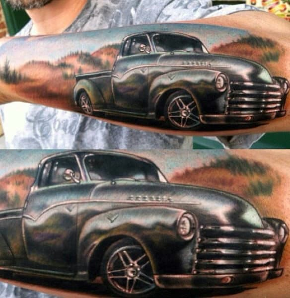 Mens Outer Forearm Hot Rod Truck Tattoo Designs