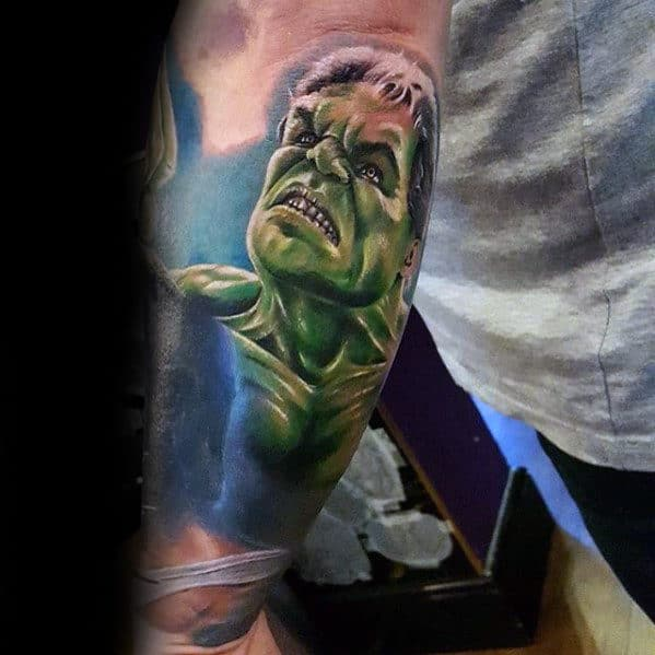Mens Outer Forearm Marvel Hulk Tattoo Designs