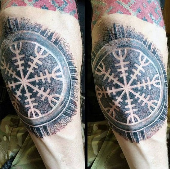 Mens Outer Forearm Runes Tattoo