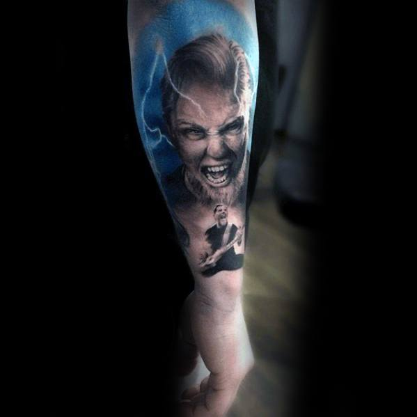 Mens Outer Forearm Tattoo Metallica Design