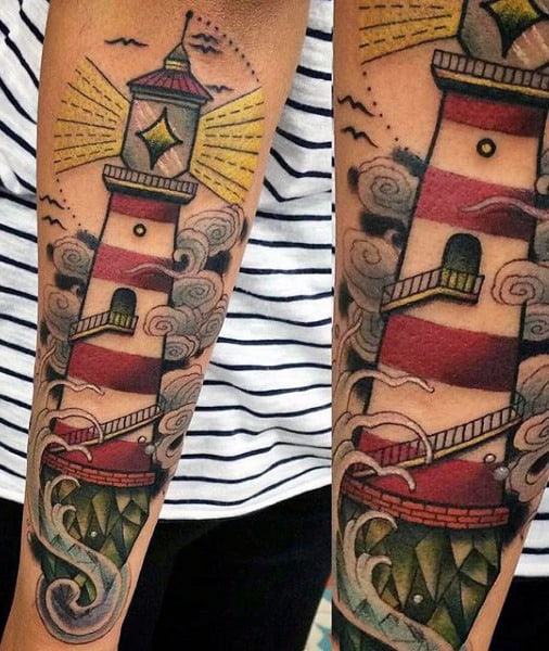 Mens Outer Forearm Tattoo Of Lighthouse