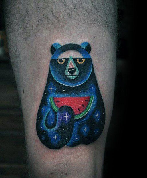 Mens Outer Space Bear Holding Watermelon Thigh Tattoo Design Ideas