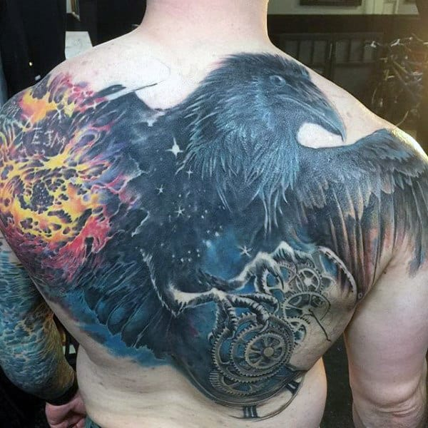 Mens Outer Space Gears Upper Back Crow Tattoos