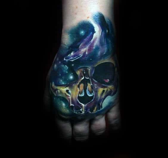 Mens Outer Space Skull Hand Tattoo Designs