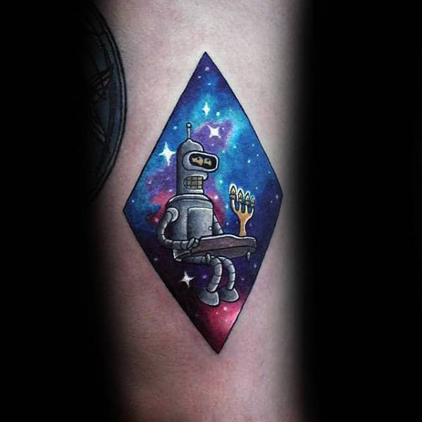 Mens Outer Space Sky With Stars Bender Playing Piano Forearm Tattoo