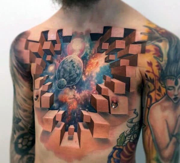 Mens Outer Space Themed 3d Geometric Chest Tattoo