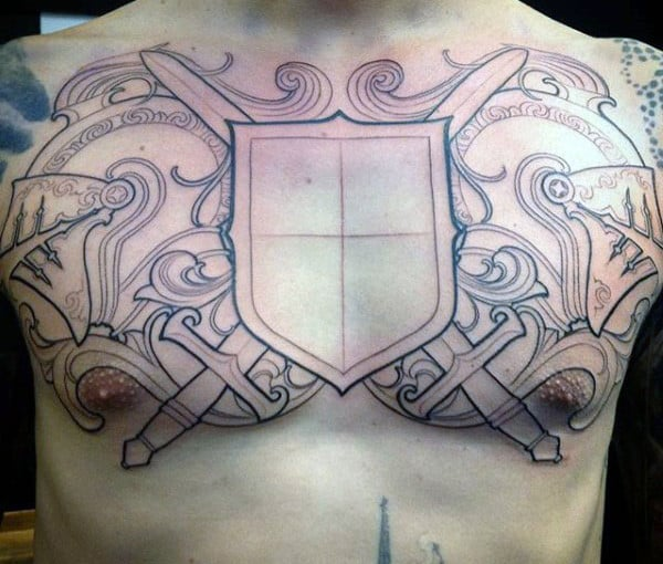 Mens Outline Knight Crest Tattoo On Chest