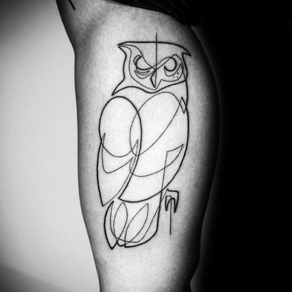 Mens Outline Owl Tattoo Ideas