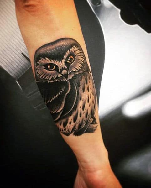 Men's Owl Simple Tattoos On Outer Forearm