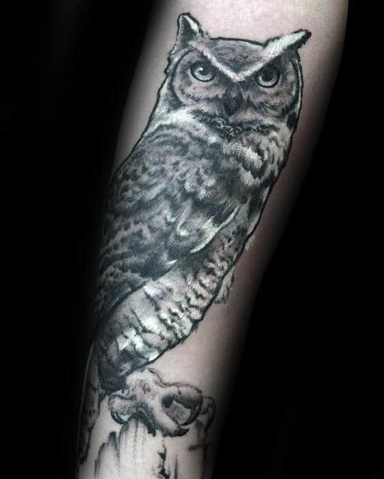 Mens Owl Forearm White And Grey Ink Tattoo Ideas