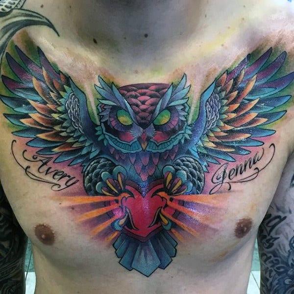 Mens Owl Heart Heart Tattoo Design Inspiration
