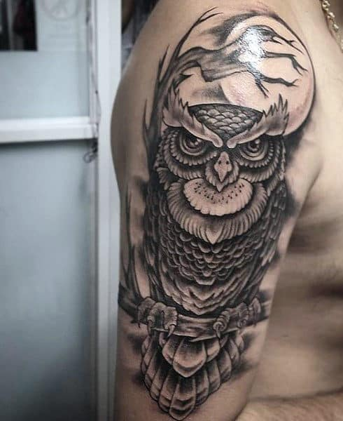 Men's Owl Tattoos Designs On Upper Arms