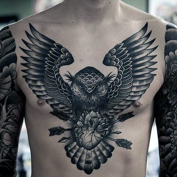 Mens Owl With Arrows And Heart Chest Tattoo Incredible Design