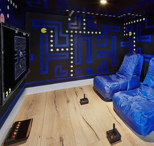 Game Room Design Ideas game room basement painting tips Mens Pacman Themed Game Room Design Ideas