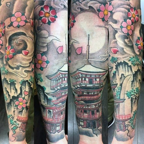 Mens Pagoda Tattoo Design Inspiration