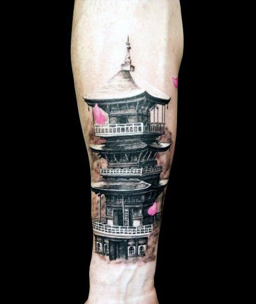 Mens Pagoda Tattoo