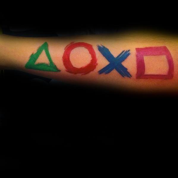 Mens Paint Brush Stroke Buttons Playstation Tattoo Ideas On Outer Forearm