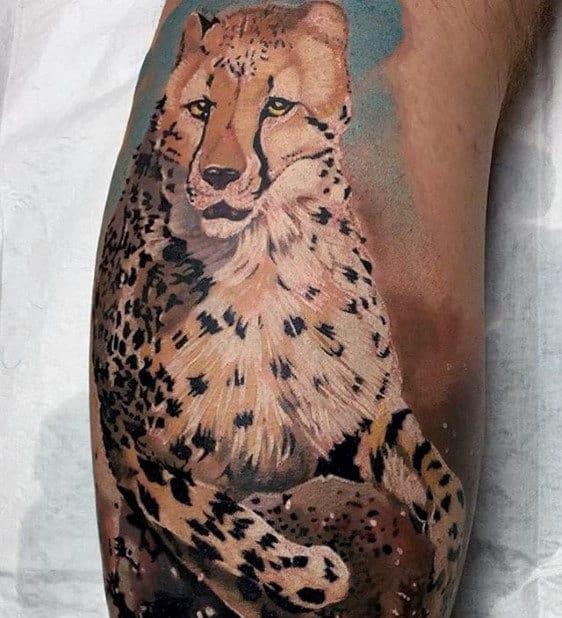 Mens Painting Cheetah Back Of Leg Tattoos