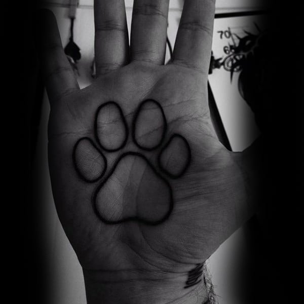 Mens Palm Animal Black Paw Print Tattoo