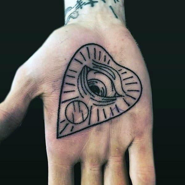 Mens Palm Black Heart Shaped Tattoo