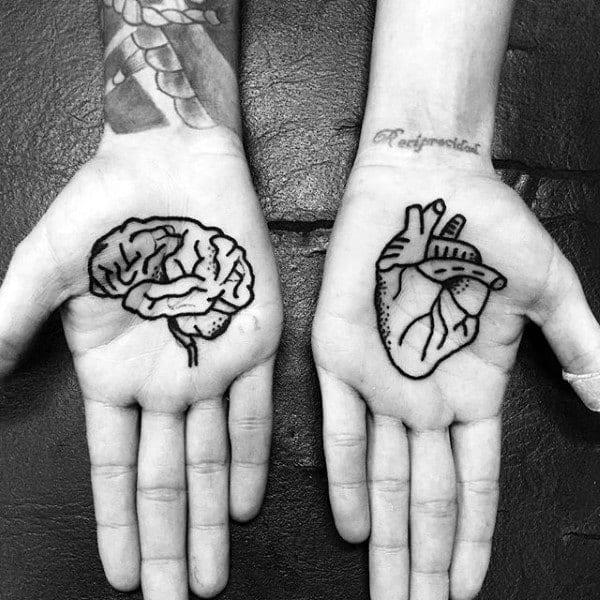 Mens Palm Brain Heat Tattoo