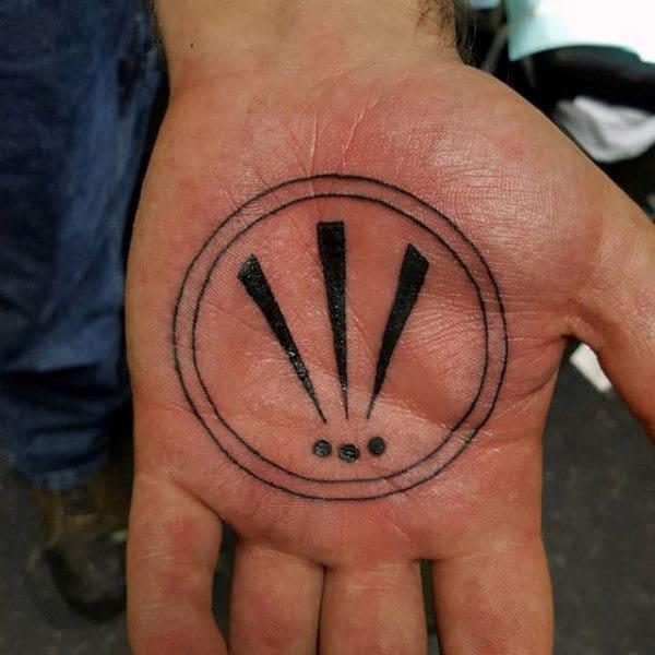 Mens Palm Dark Black Exclamation Trio Tattoo