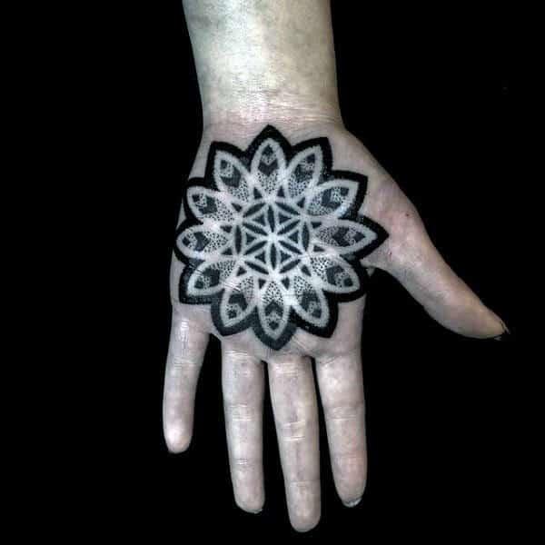 Mens Palm Dotted Black Mandala Tattoo