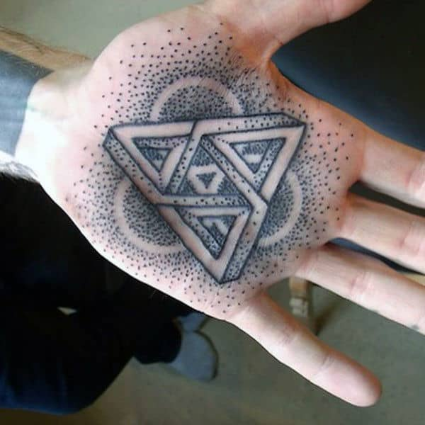 Mens Palm Dotted Grey 3D Design Tatto