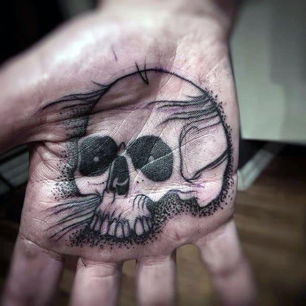 Mens Palm Dotted Skull Tattoo