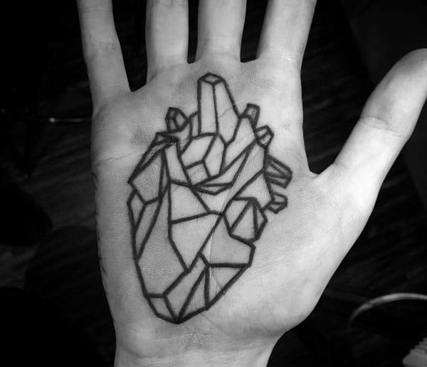 Mens Palm Geometric Heart Tattoos