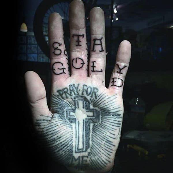 Mens Palm Greyish Religious Tattoo