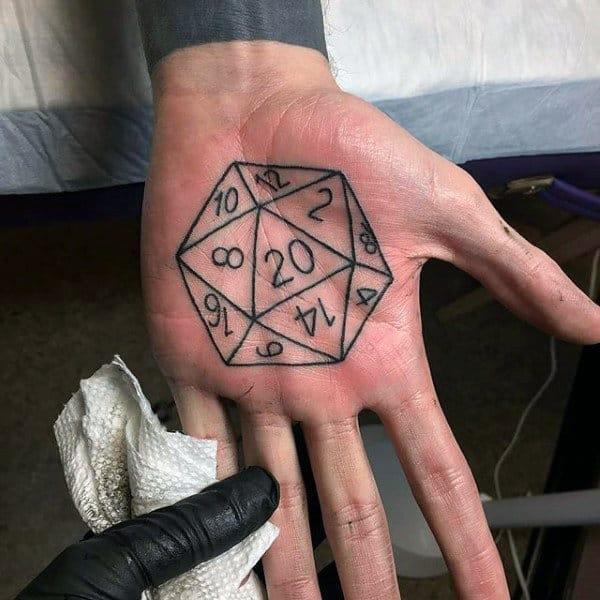 Mens Palm Numerals In Hexagon Tattoo Designs