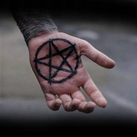 Mens Palm Pentagram Tattoo Ideas