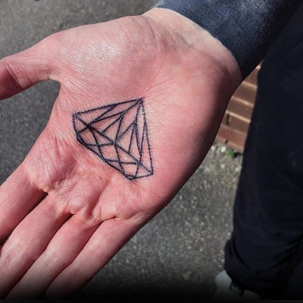 Mens Palm Sharp Diamond Tattoo