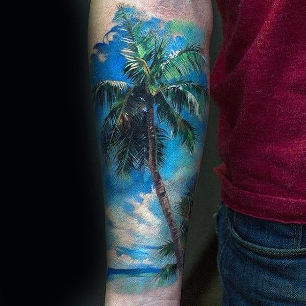 Mens Palm Tree Beach Forearm Sky Sleeve Tattoos