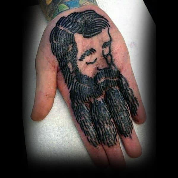 Mens Palms Beared Man Tattoo