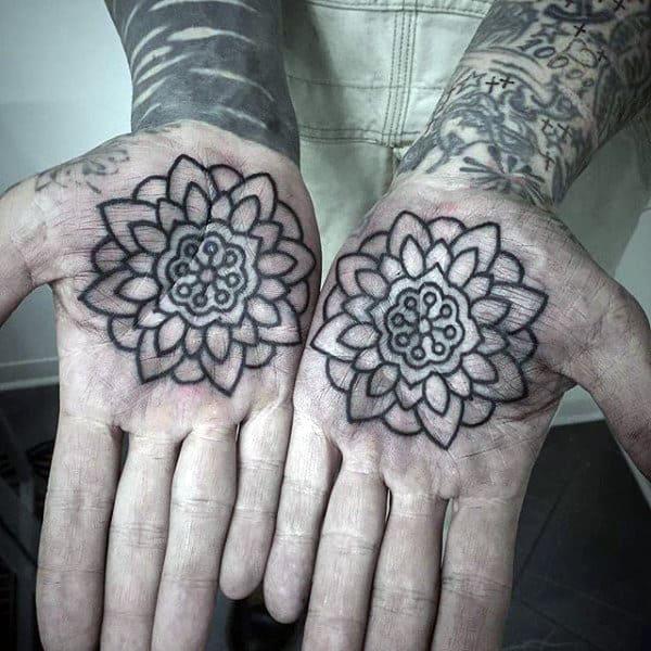 Mens Palms Lovely Flower Tattoo