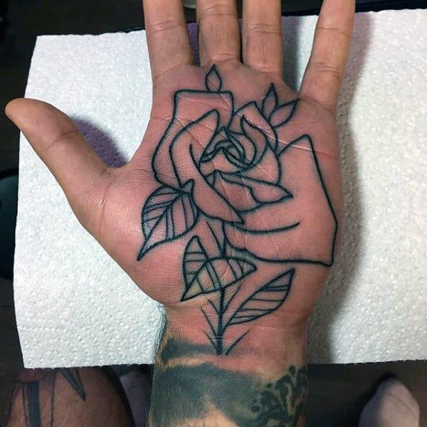 Mens Palms Pretty Rose Tattoo Design Ideas