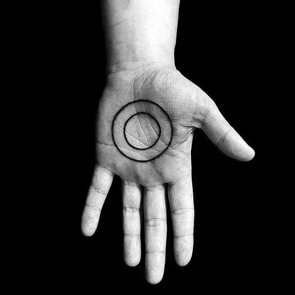 Mens Palms Two Circles Tattoo Ideas