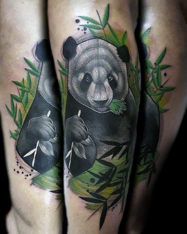 Mens Panda Eating Green Leaves Forearm Tattoo