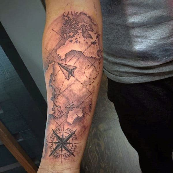 Mens Paper Airplane World Map Forearm Sleeve Tattoo Ideas