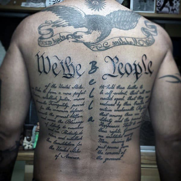Mens Patriotic We The People Full Back Tattoo