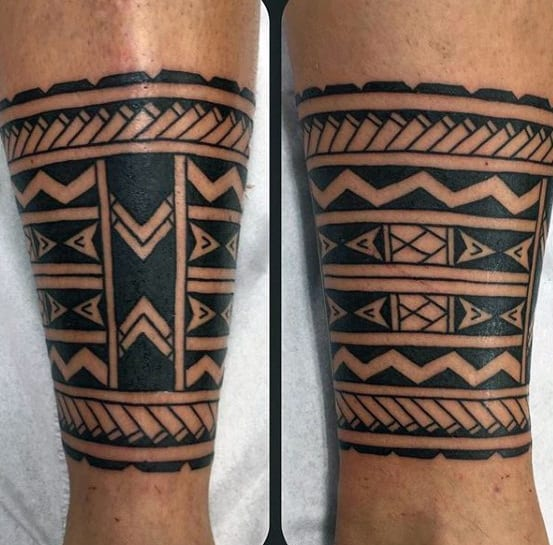 Mens Pattern Tribal Leg Band Tattoos