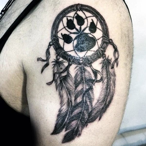 Mens Paw Print Dreamcatcher Upper Arm Tattoo